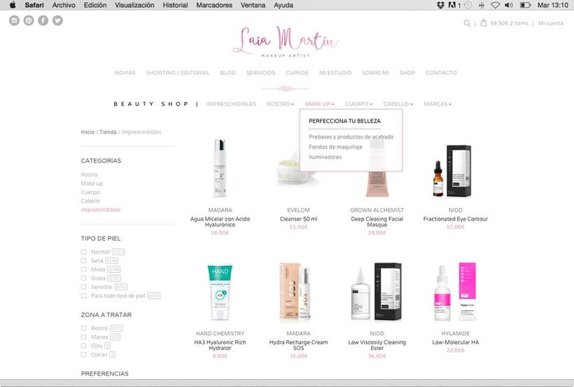 Laia Martín Beauty Shop: website + e-shop + branding 3