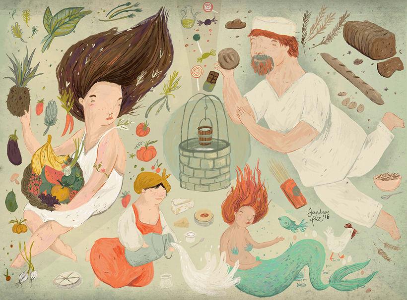 Ilustración sobre la alimentación realizada para la ong portuguesa Ajudaris -1