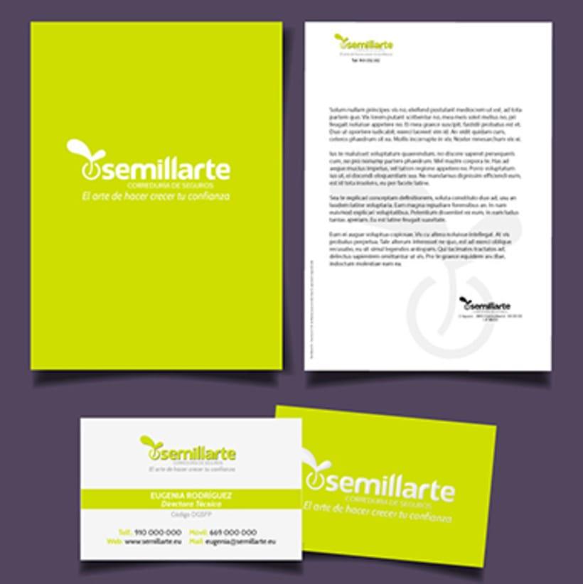 Logotipo y papelería corporativa de Semillarte  0