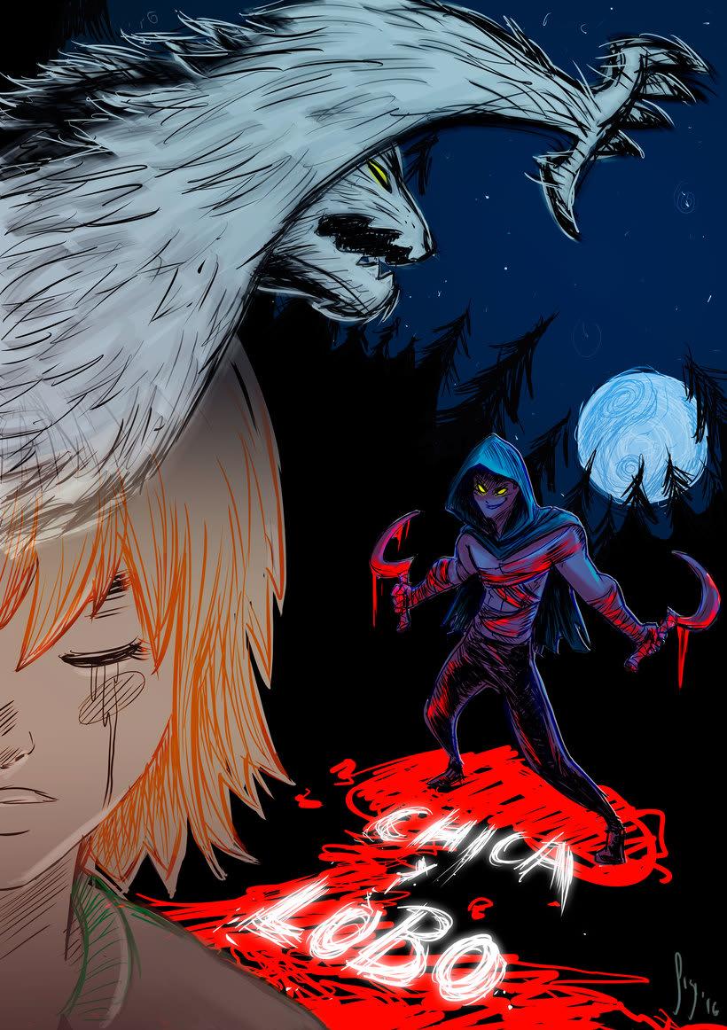 Fan art de chica y lobo #chicaylobofanart -1
