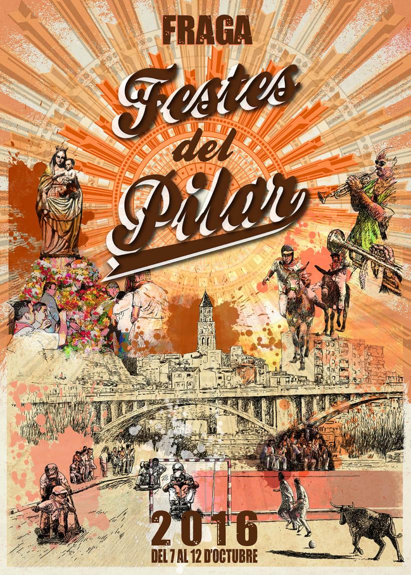 Cartel de las fiestas del Pilar de Fraga 2016 -1