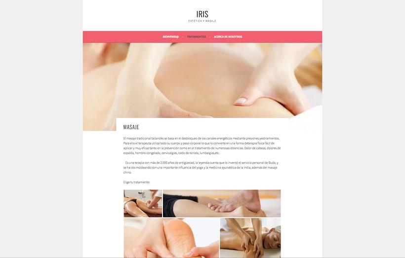 Diseño y creación web para IRIS Estética y Masaje 1