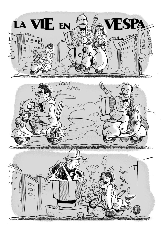"""Cómic """"La vie in Vespa"""" (2 páginas) para asociación Vespamigos -1"""