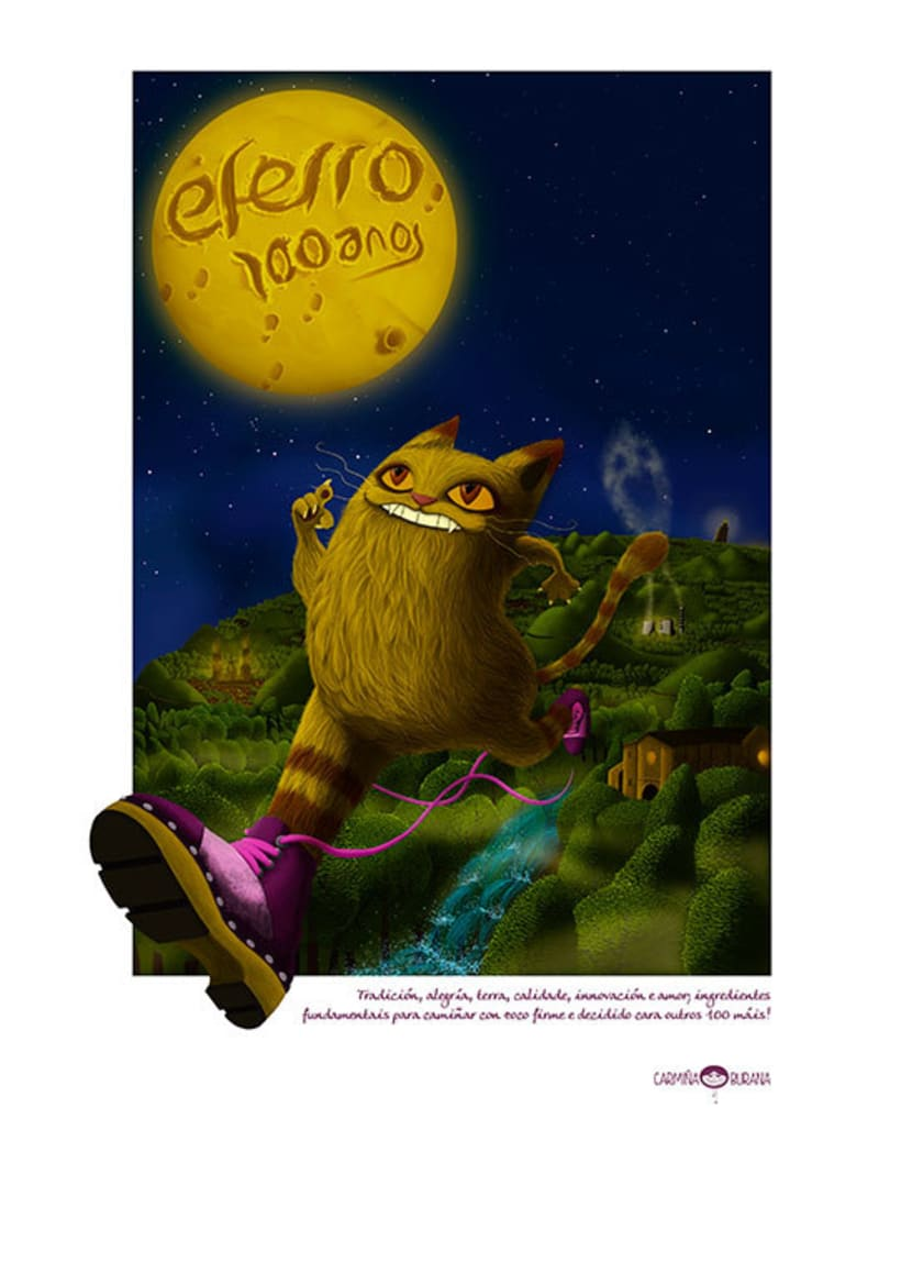 Ilustración: Gato con Zocos, aniversario Eferro -1
