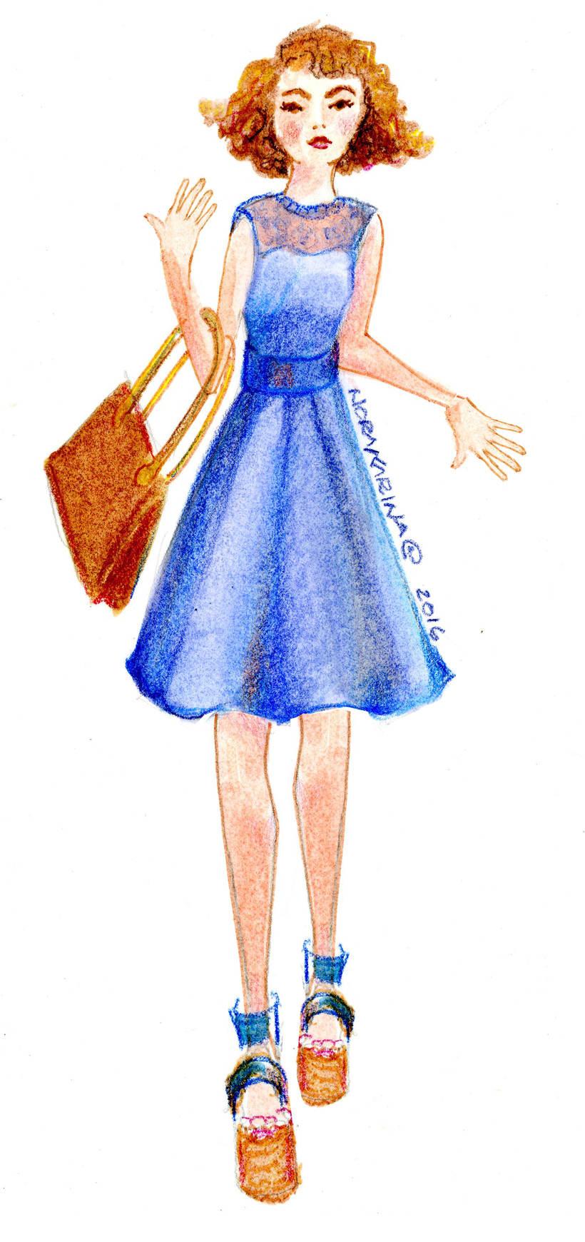 Dibujo de figurín de moda  -1