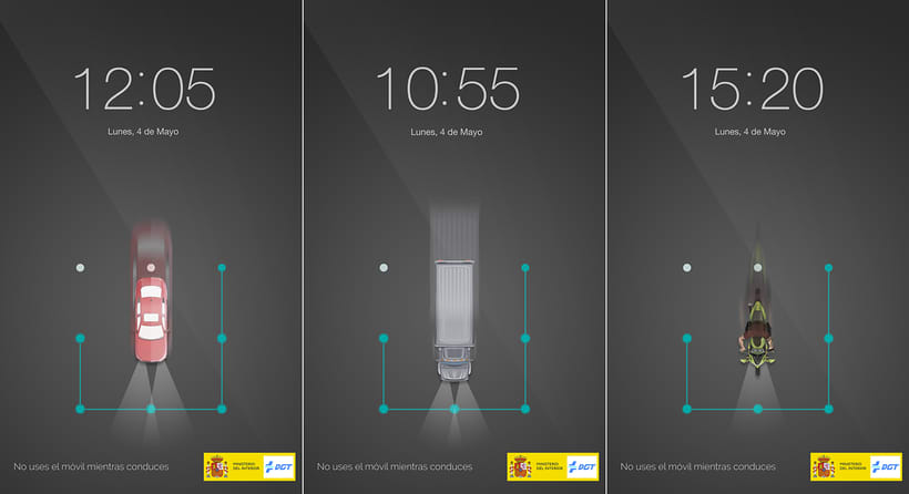 Campaña de concienciación contra el uso del teléfono móvil mientras conduces. DGT 0