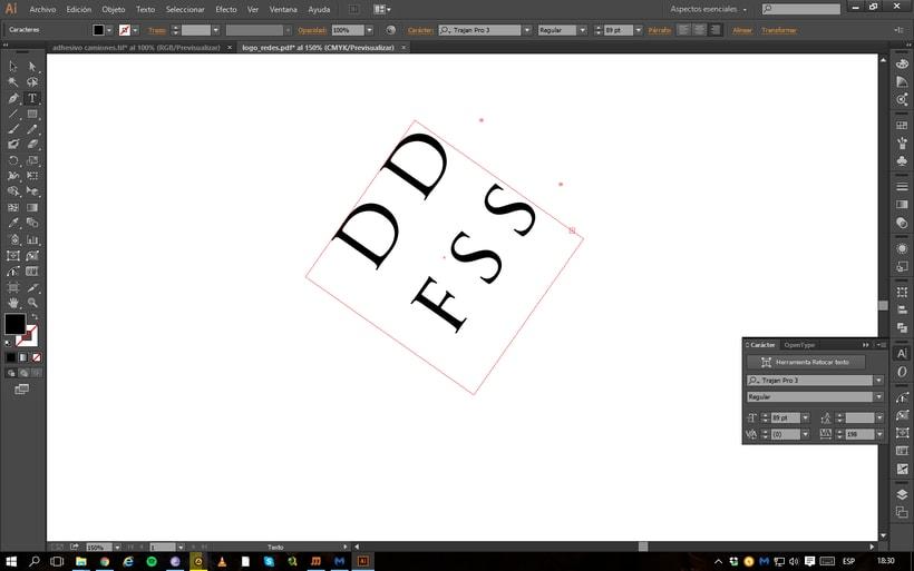Problema con la orientación del texto en Illustrator 1