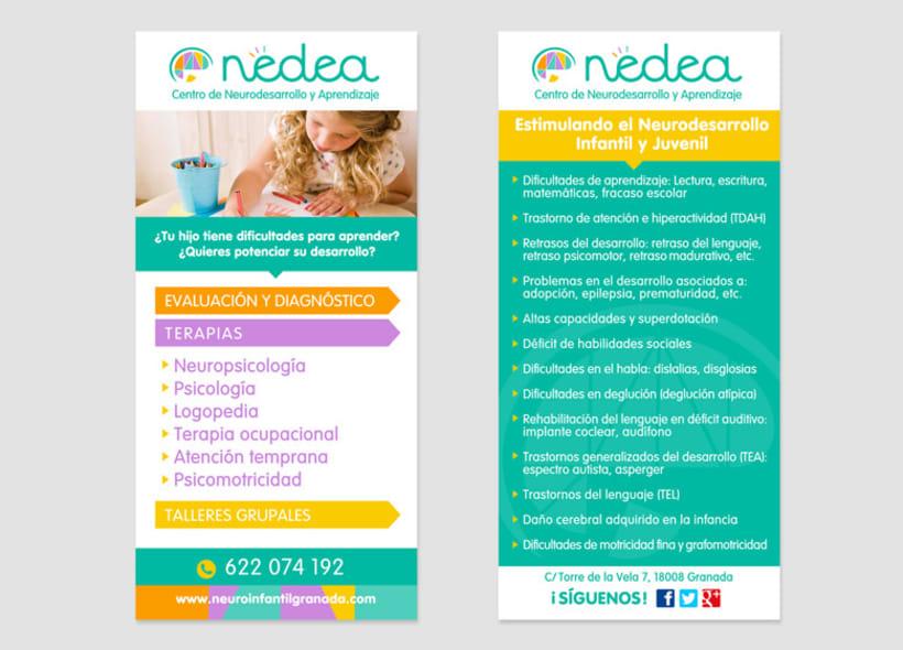Diseño de identidad corporativa para NEDEA (Centro de Neurodesarrollo y Aprendizaje). Se trata de un centro ubicado en Granada y especializado en las áreas de neuropsicología, pedagogía, logopedia, terapia ocupacional y atención temprana. 1