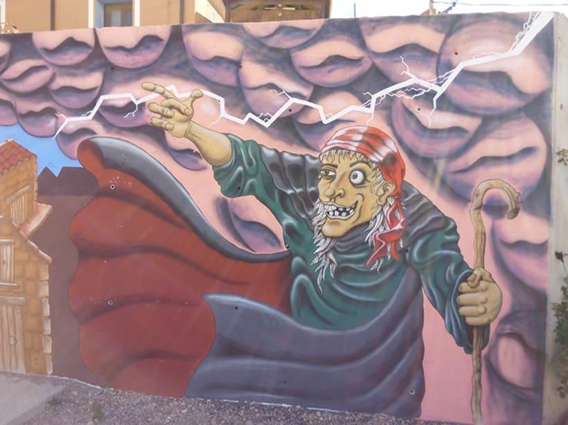 Mural en Bañon con leyenda local -1