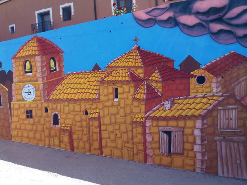 Mural en Bañon con leyenda local 0