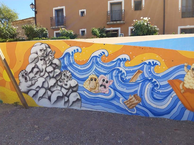 Mural en Bañon con leyenda local 1