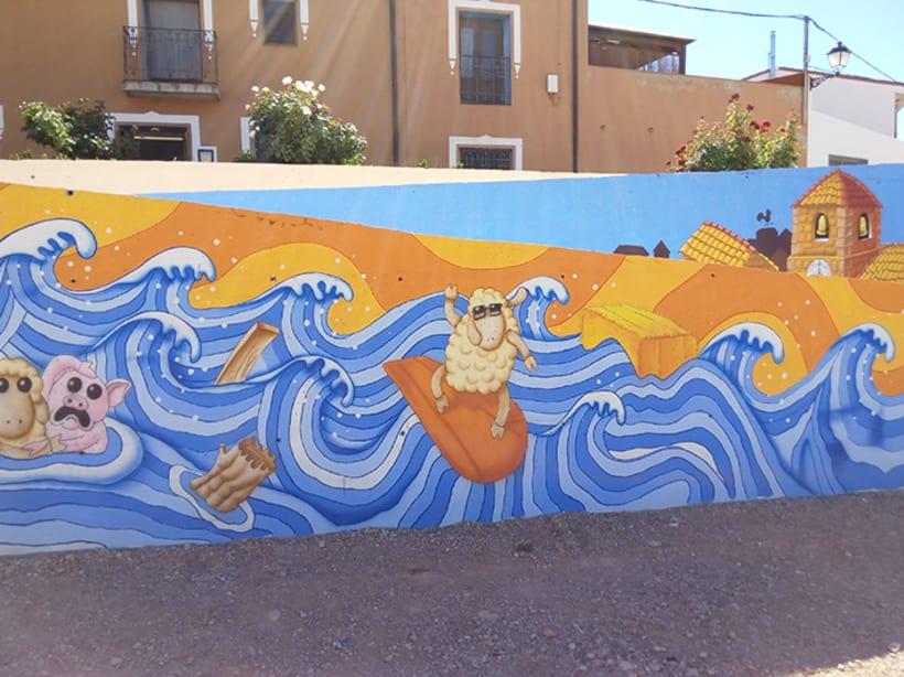 Mural en Bañon con leyenda local 2