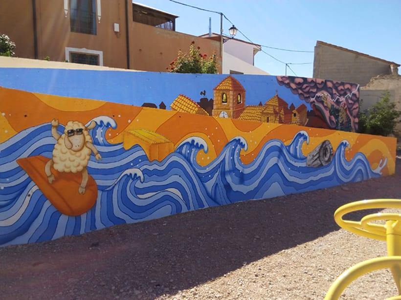 Mural en Bañon con leyenda local 3
