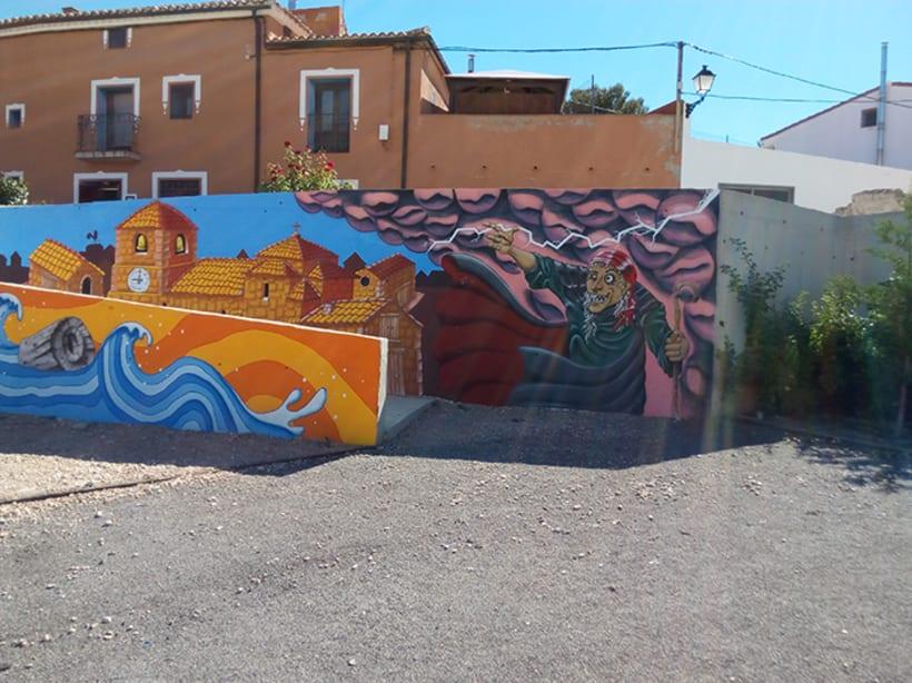 Mural en Bañon con leyenda local 5