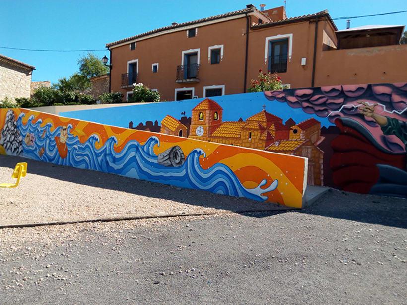 Mural en Bañon con leyenda local 6