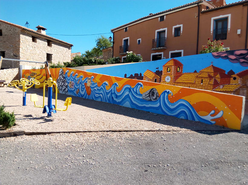 Mural en Bañon con leyenda local 7