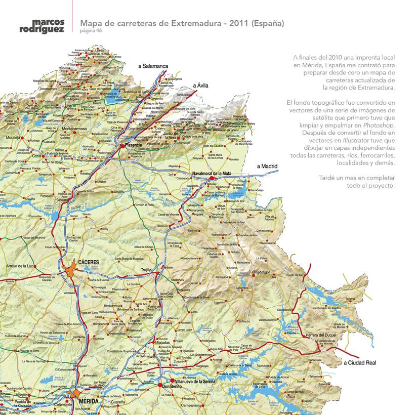 Mapa de carreteras de Extremadura - 2011 (España) 1