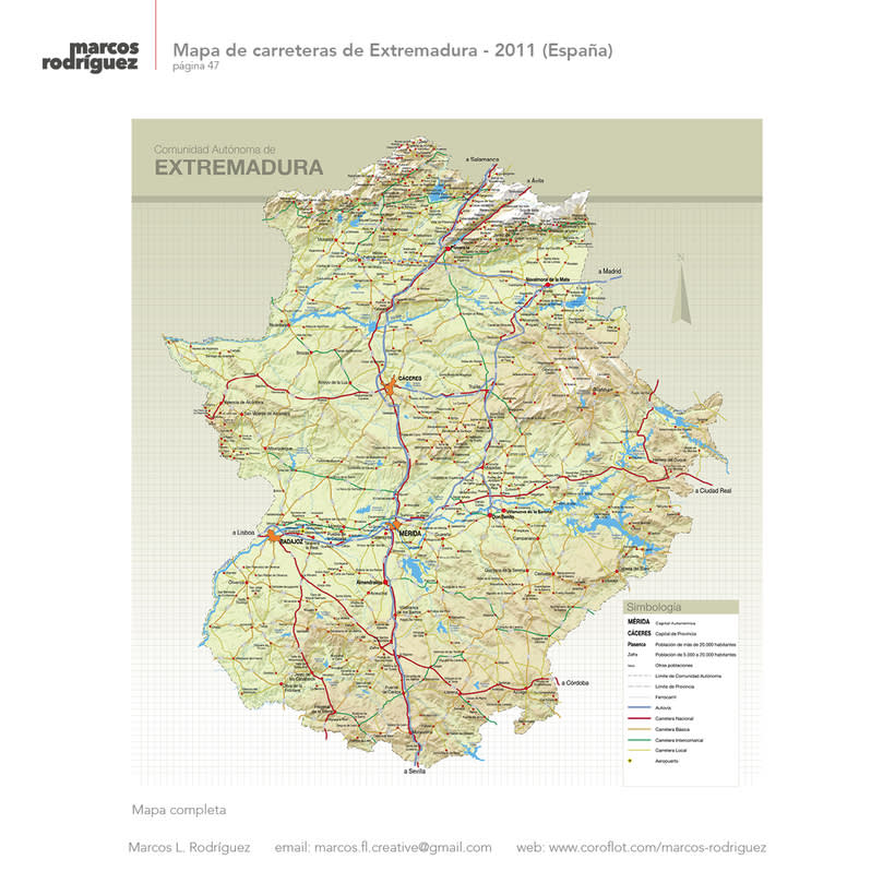 Mapa de carreteras de Extremadura - 2011 (España) 2