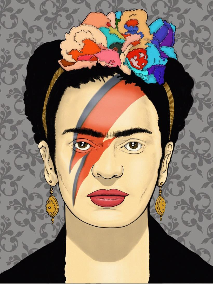 """Ilustración """"Frida khalo Bowie"""" 1"""