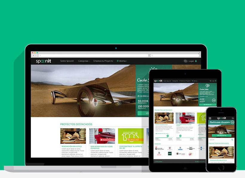 Spoonit - Diseño y maquetación de portal de crowdfounding 0