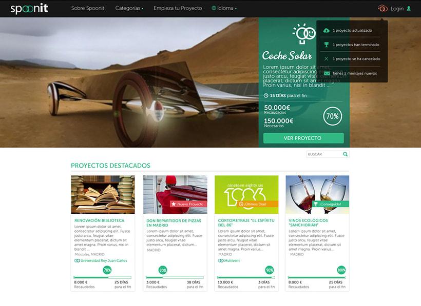 Spoonit - Diseño y maquetación de portal de crowdfounding 1