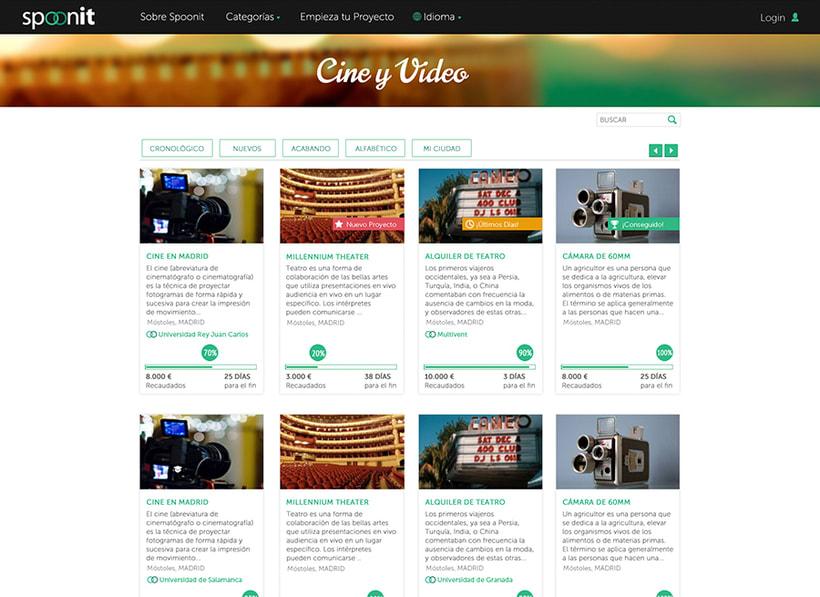 Spoonit - Diseño y maquetación de portal de crowdfounding 2