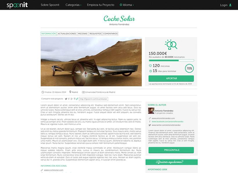 Spoonit - Diseño y maquetación de portal de crowdfounding 3