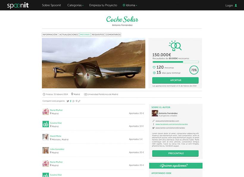 Spoonit - Diseño y maquetación de portal de crowdfounding 4