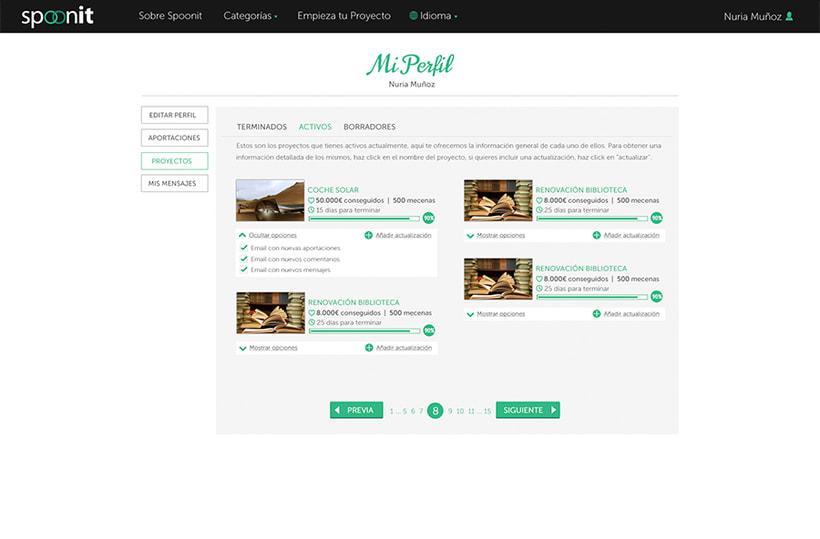Spoonit - Diseño y maquetación de portal de crowdfounding 7