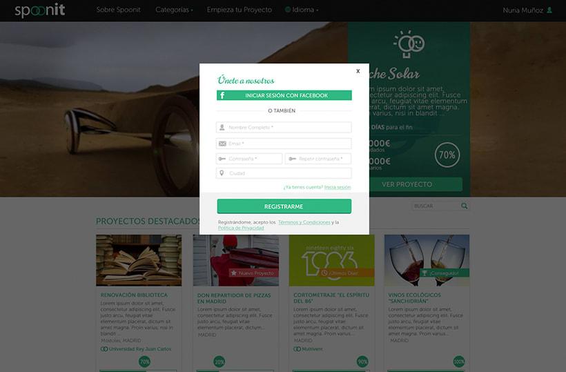 Spoonit - Diseño y maquetación de portal de crowdfounding 10