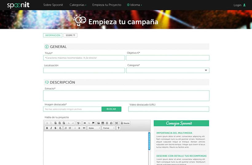 Spoonit - Diseño y maquetación de portal de crowdfounding 11