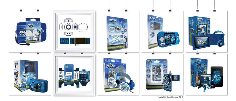 """Línea productos electrónicos MAX STEEL"""" · Idea, creación, desarrollo, seguimiento y aprobación (Mattel©) del producto, aplicación y packaging -1"""
