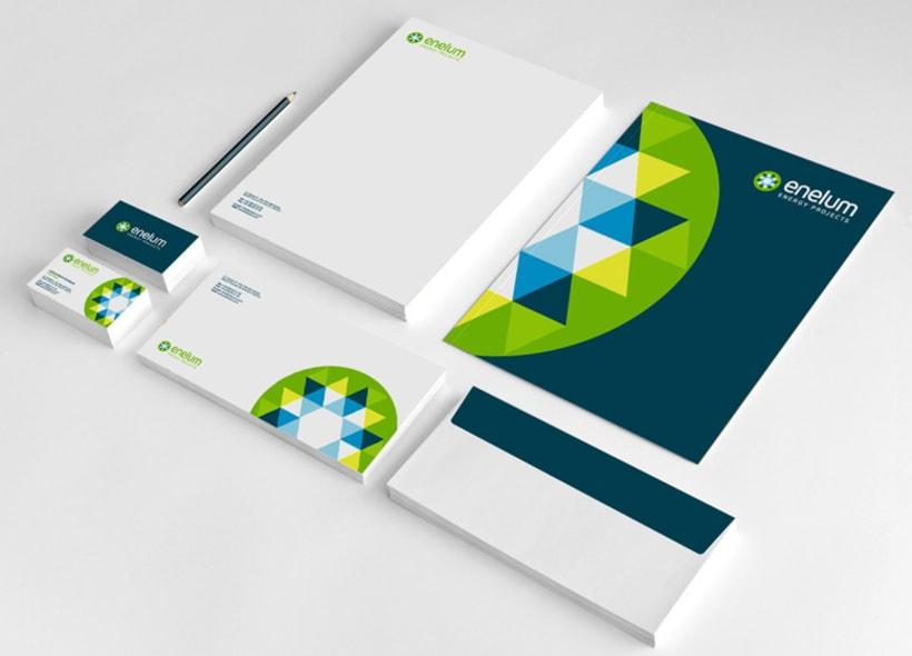 Diseño de identidad corporativa para Enelum, una empresa especializada en el diseño, ejecución y gestión de proyectos de energías renovables (especialmente solar y eólica). -1