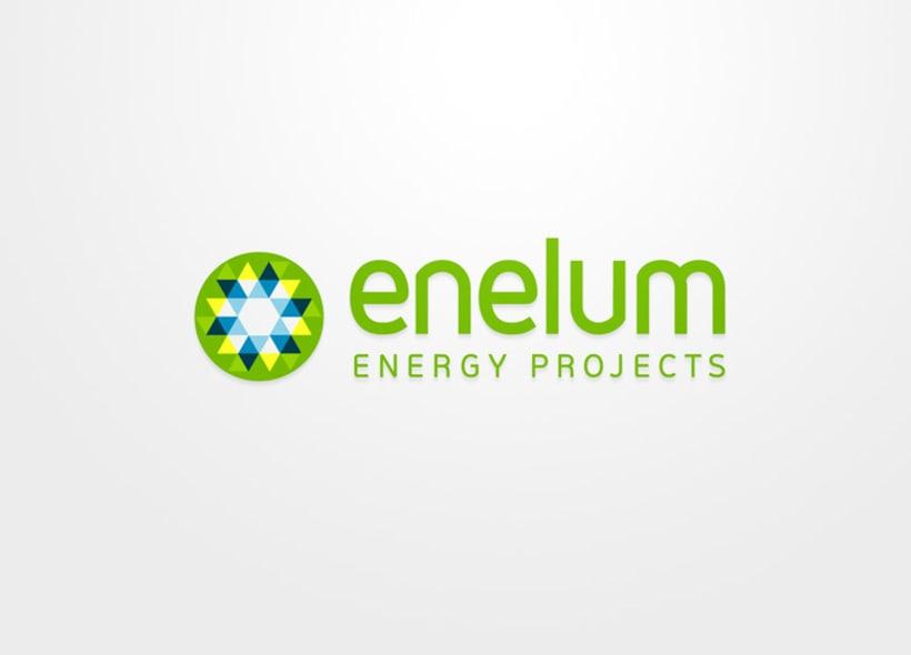 Diseño de identidad corporativa para Enelum, una empresa especializada en el diseño, ejecución y gestión de proyectos de energías renovables (especialmente solar y eólica). 2