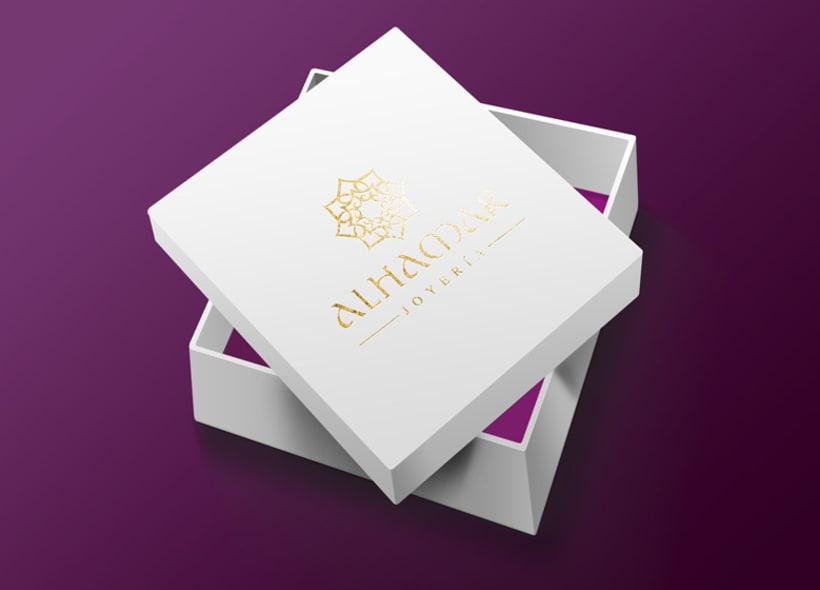 Diseño de logotipo para Alhamar, una tienda de joyas y bisutería marroquí situada en la Alcaicería de Granada (antiguo zoco musulmán de la ciudad). 0
