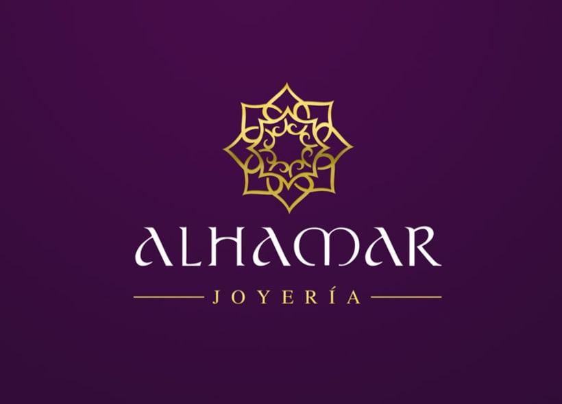 Diseño de logotipo para Alhamar, una tienda de joyas y bisutería marroquí situada en la Alcaicería de Granada (antiguo zoco musulmán de la ciudad). 2