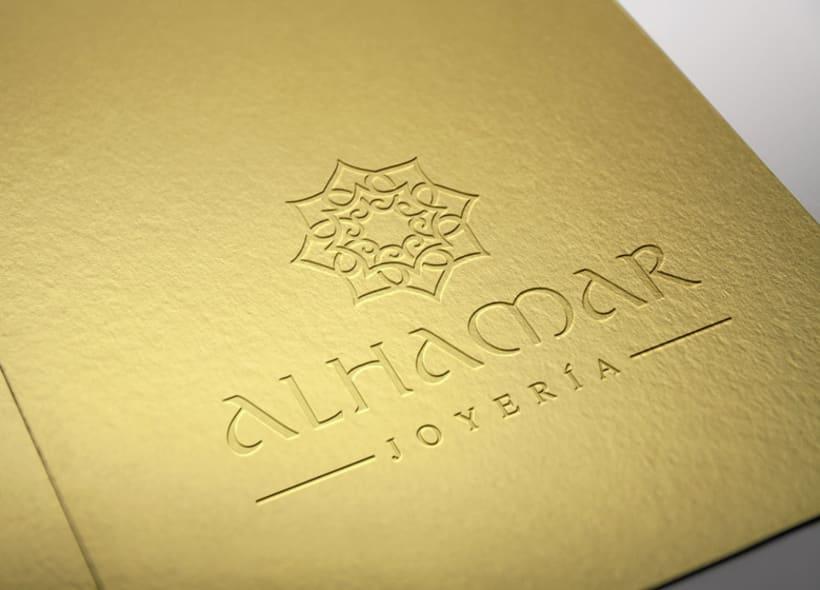 Diseño de logotipo para Alhamar, una tienda de joyas y bisutería marroquí situada en la Alcaicería de Granada (antiguo zoco musulmán de la ciudad). 1