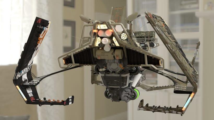 HoverBike: STRIKER - Hornet (Modelaje, iluminación, track e integración) 9