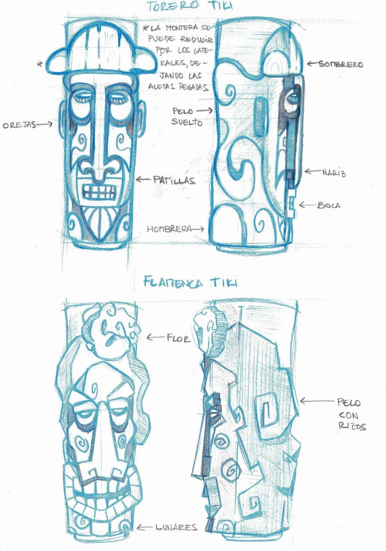 Diseño de vasos TIKI (estilo España) -1