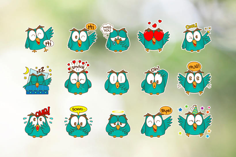 Little Owl Stickers Set 3