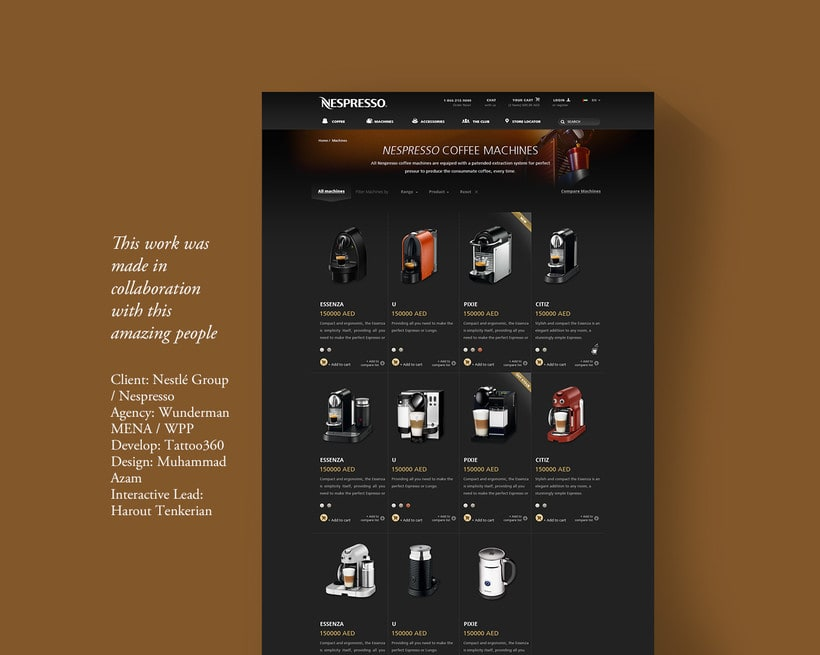 Nespresso Middle East - Product Page E-shop 1
