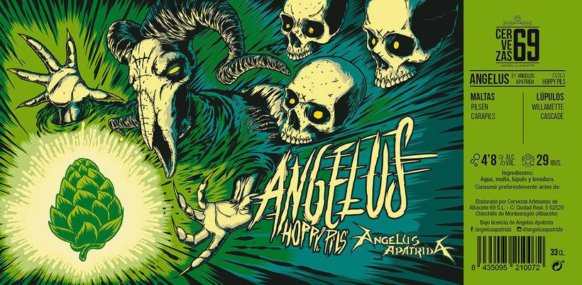 """Arte de Etiqueta para la cerveza """"Angelus Hoppy Pils"""" 0"""