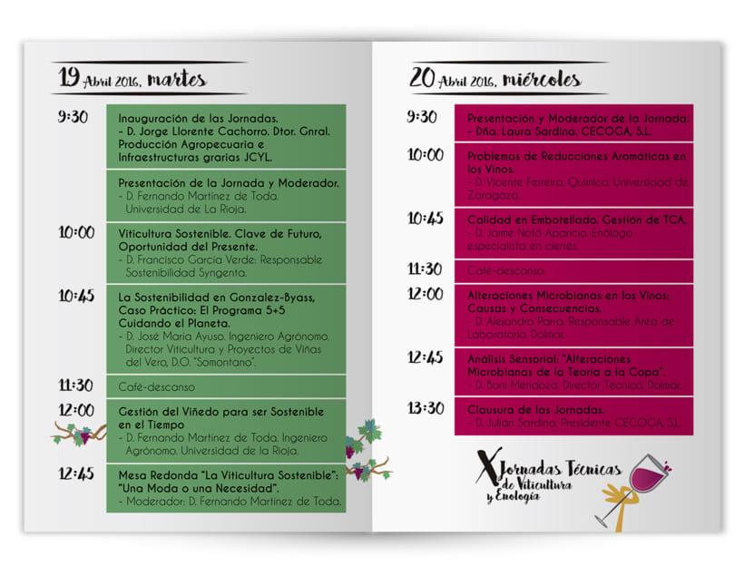 Cartelería + Programa de mano X Jornadas Técnicas de Viticultura y Enología · CECOGA S.A. · Valladolid 2