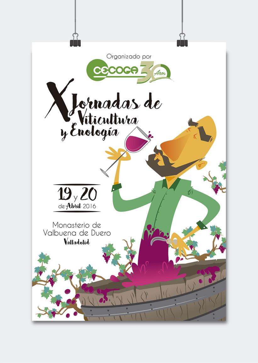 Cartelería + Programa de mano X Jornadas Técnicas de Viticultura y Enología · CECOGA S.A. · Valladolid 0
