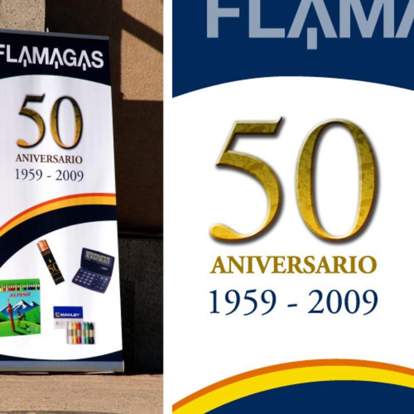 Logotipo y roll-up Aniversario Flamagas -1