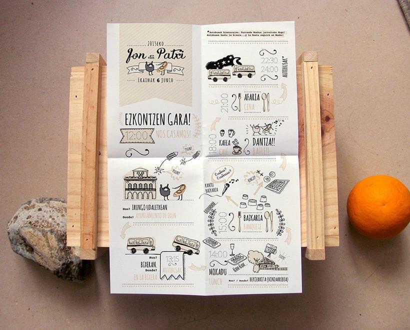 Invitación Jon&Patxi | Ilustración y Diseño gráfico 1