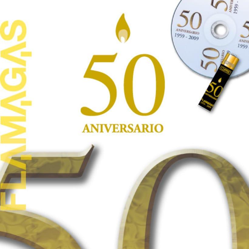 Logotipo y roll-up Aniversario Flamagas 0