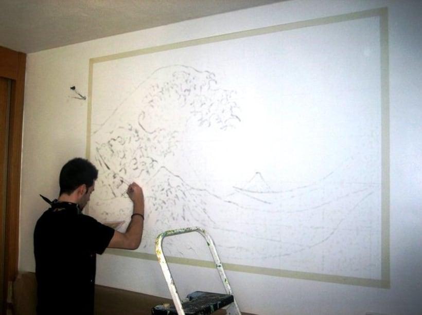 Mural: La Gran Ola de Kanagawa de Katsushika Hokusa -1
