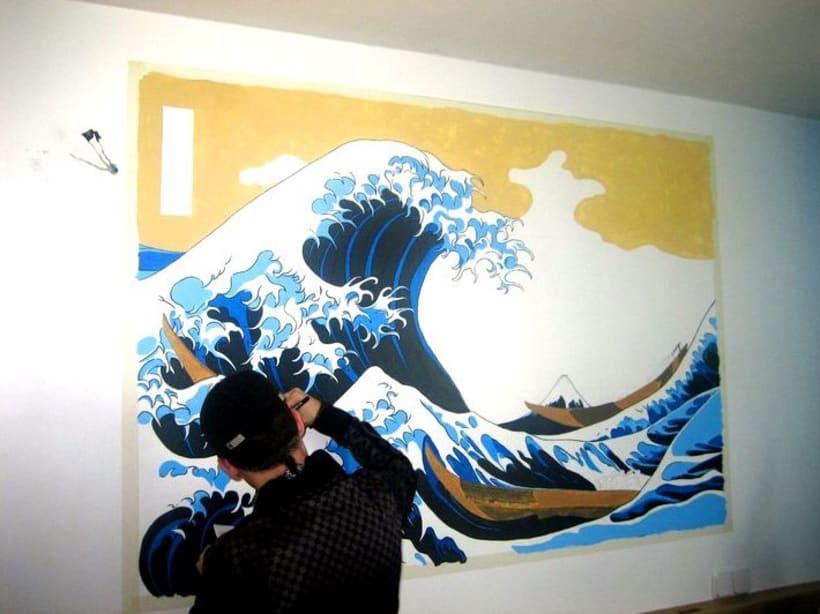 Mural: La Gran Ola de Kanagawa de Katsushika Hokusa 3