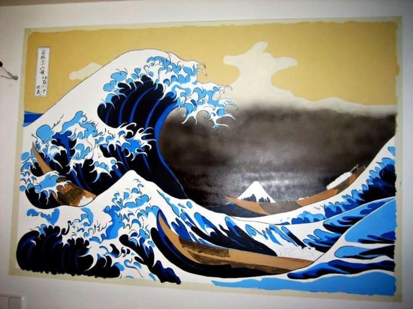 Mural: La Gran Ola de Kanagawa de Katsushika Hokusa 4
